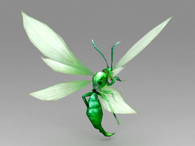 Green Cartoon Bee 3d rendering