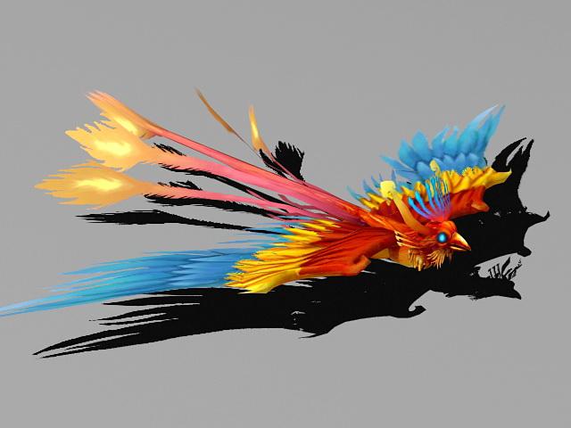 Blue Fire Phoenix 3d rendering