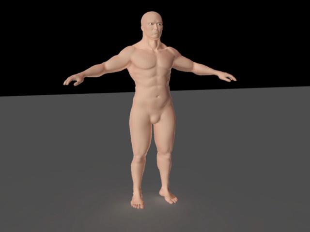 Muscle Man Rig 3d rendering