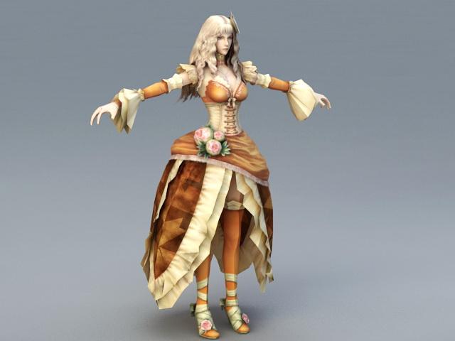 Blonde Princess 3d rendering