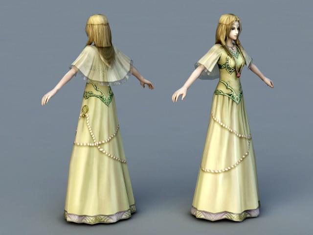 Medieval Princess 3d rendering
