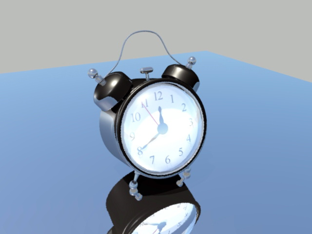 Black Alarm Clock 3d rendering