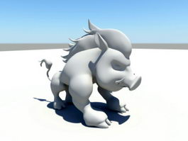 Wild Boar Cartoon 3d preview