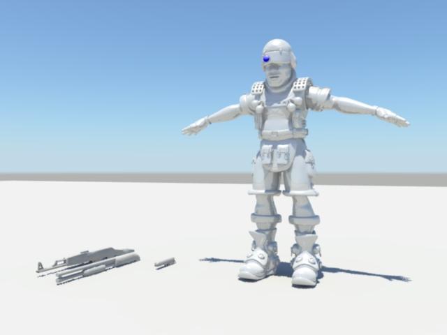 Soldier Commando Rig 3d rendering