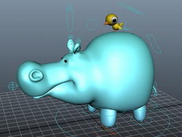 Cartoon Hippo and Bird Rig 3d preview