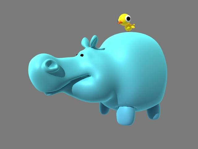 Cartoon Hippo and Bird Rig 3d rendering