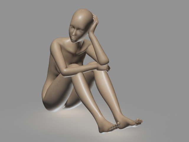 Female Body Sitting 3d rendering