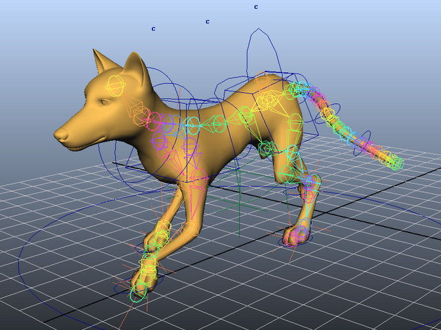 Yellow Dog Animated Rig 3d rendering