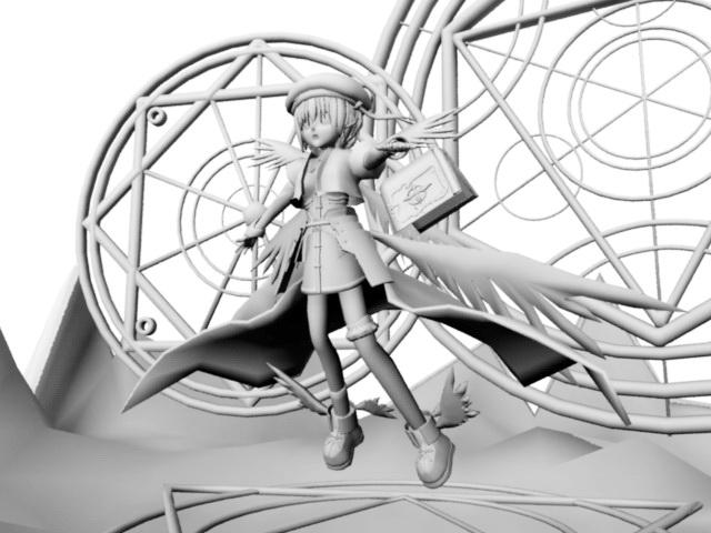 Hayate Yagami 3d rendering