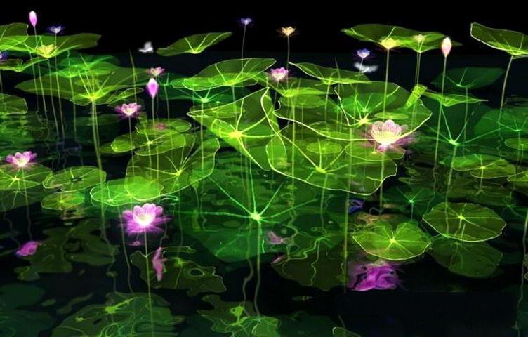 Fantasy Lotus Pond 3d rendering