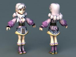 Unique Anime Fashion Girl 3d preview