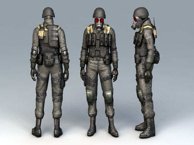 Chemical Soldier 3d rendering