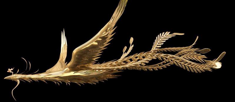 Gold Phoenix 3d rendering