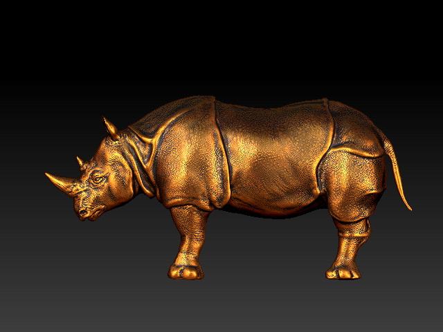 Rhino Sculpture 3d rendering