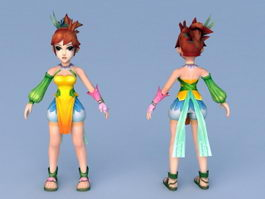 Chinese Anime Girl Character 3d preview