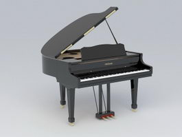 Black Grand Piano 3d preview