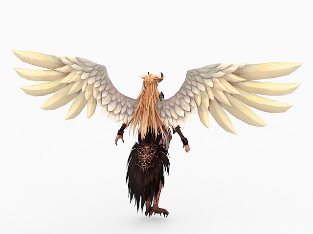 Beautiful Harpy Woman Rig 3d rendering