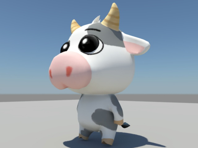 Animated Cartoon Cow Rigged 3d rendering