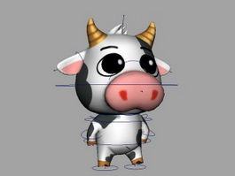 Animated Cartoon Cow Rigged 3d preview