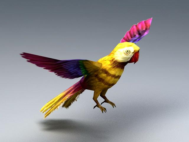 Yellow Parrot 3d rendering