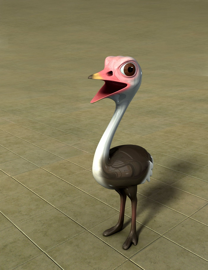 Baby Ostrich Cartoon 3d rendering