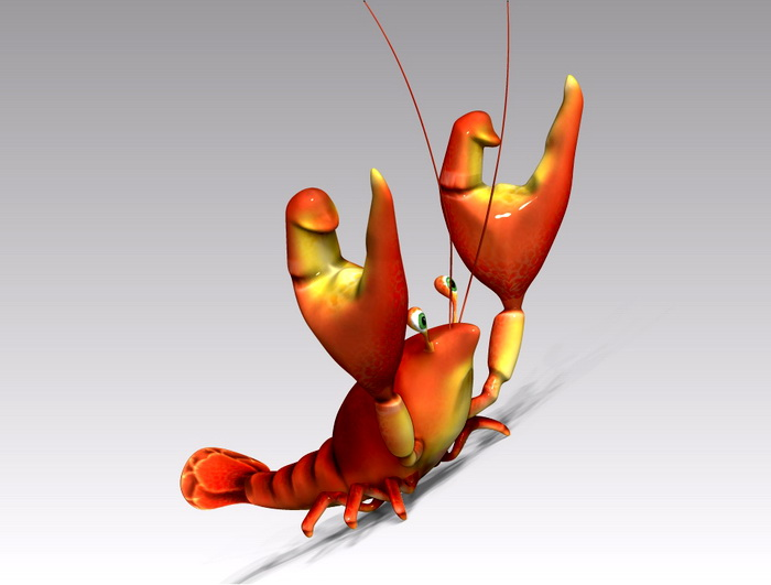 Cute Cartoon Lobster 3d rendering