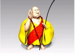 Buddhist Monk Cartoon 3d preview