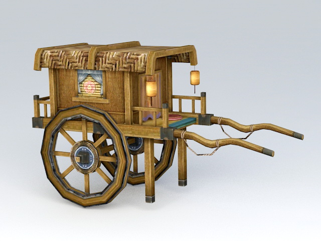 Ancient Chinese Carriage 3d rendering