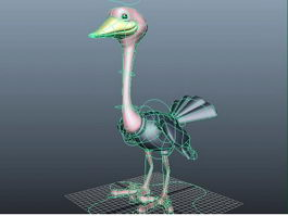 Cartoon Ostrich Rig 3d preview