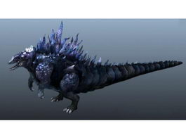 Godzilla Animated Rig 3d model preview