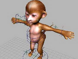 Cartoon Monkey Rigged 3d model preview