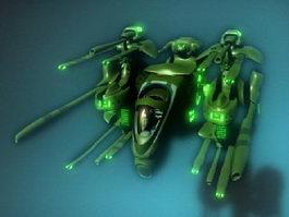 Sci-Fi Heavy Gunship 3d model preview