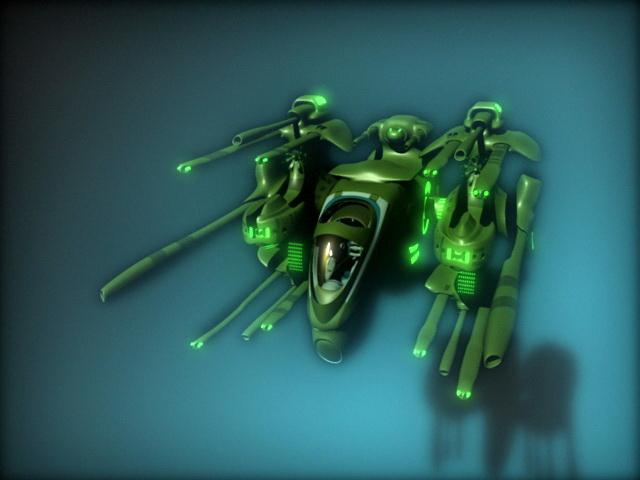 Sci-Fi Heavy Gunship 3d rendering