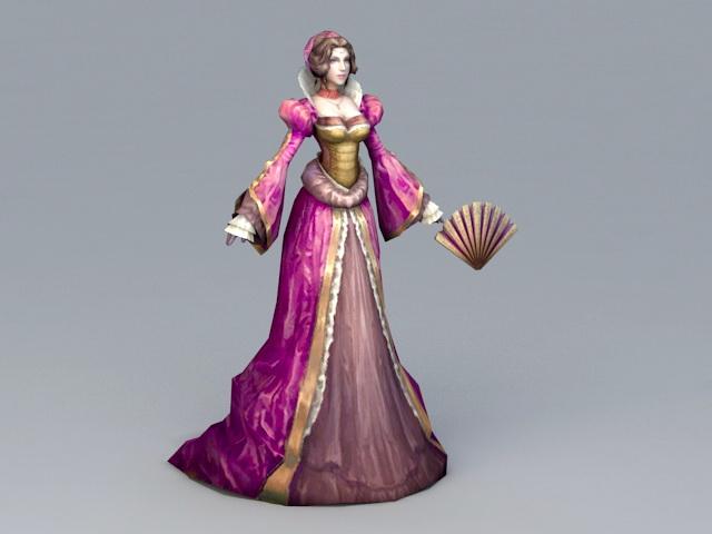 Medieval Noble Lady 3d rendering