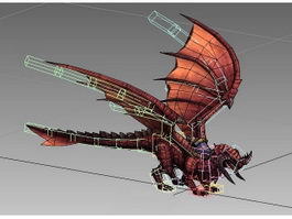 Red Dragon Mount Animated Rig 3d model preview