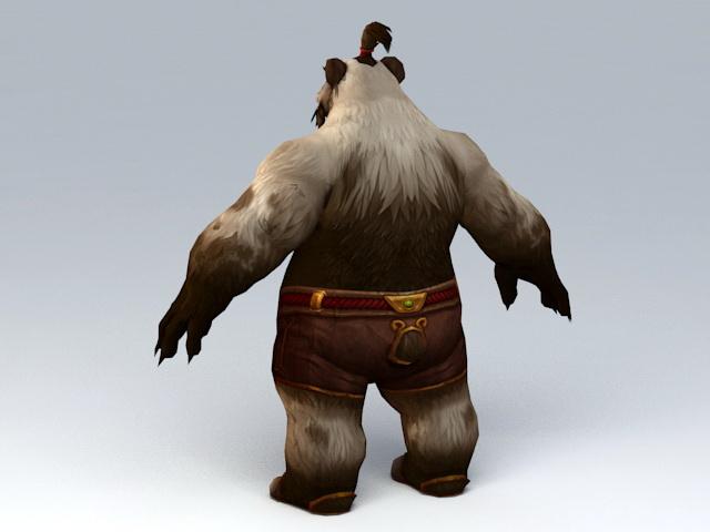 Male Pandaren Monk 3d rendering