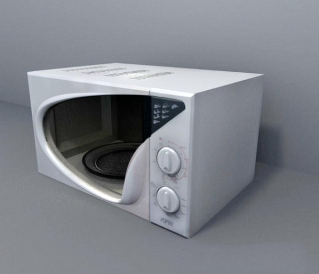 Retro Microwave 3d rendering