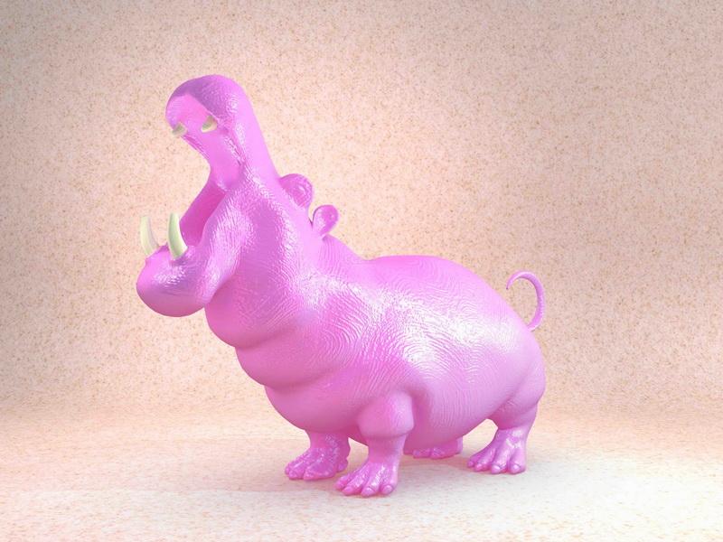 Hippo Statue 3d rendering