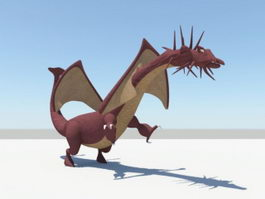 Cartoon Red Dragon 3d model preview