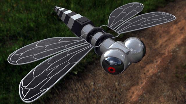 Robotic Dragonfly 3d rendering