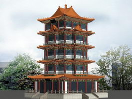 Ancient Chinese Pagoda 3d preview