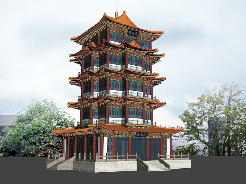 Ancient Chinese Pagoda 3d rendering