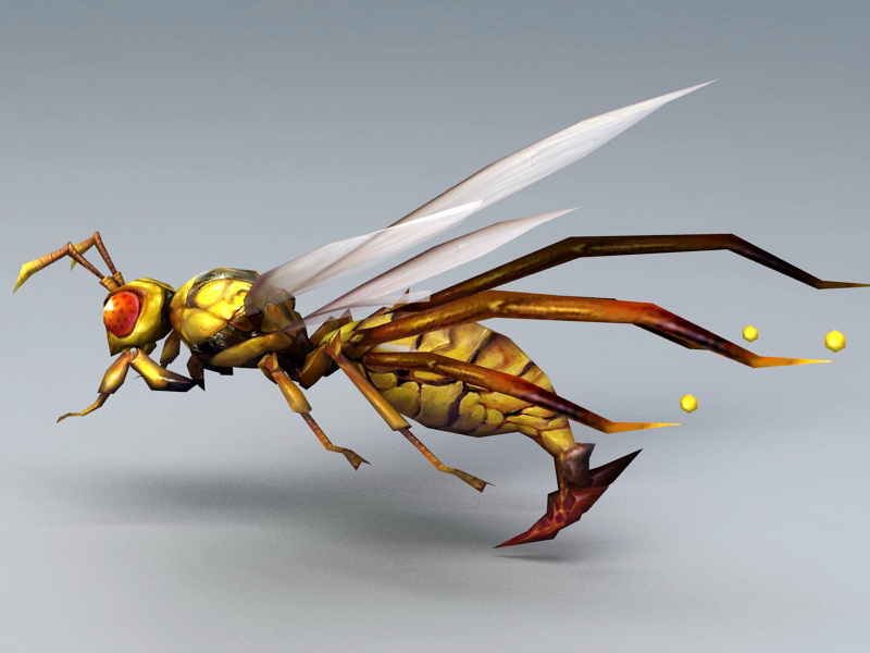 Anime Wasp 3d rendering