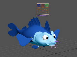 Cartoon Fish Rig 3d preview