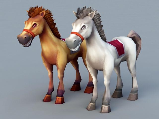 Cute Cartoon Horses 3d rendering