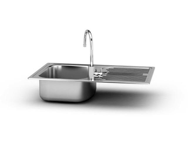 Stainless Steel Kitchen Sink 3d rendering