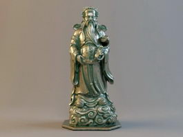 Chinese Luxing Buddhist Bronze Statue 3d preview