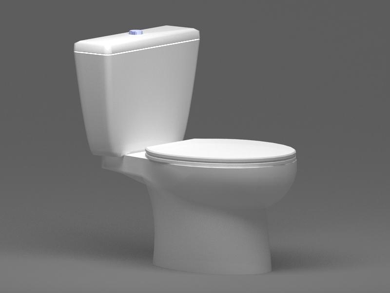 2 Piece Toilet 3d rendering