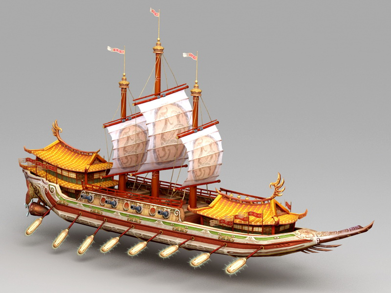 Ancient Chinese Junk Ship 3d rendering
