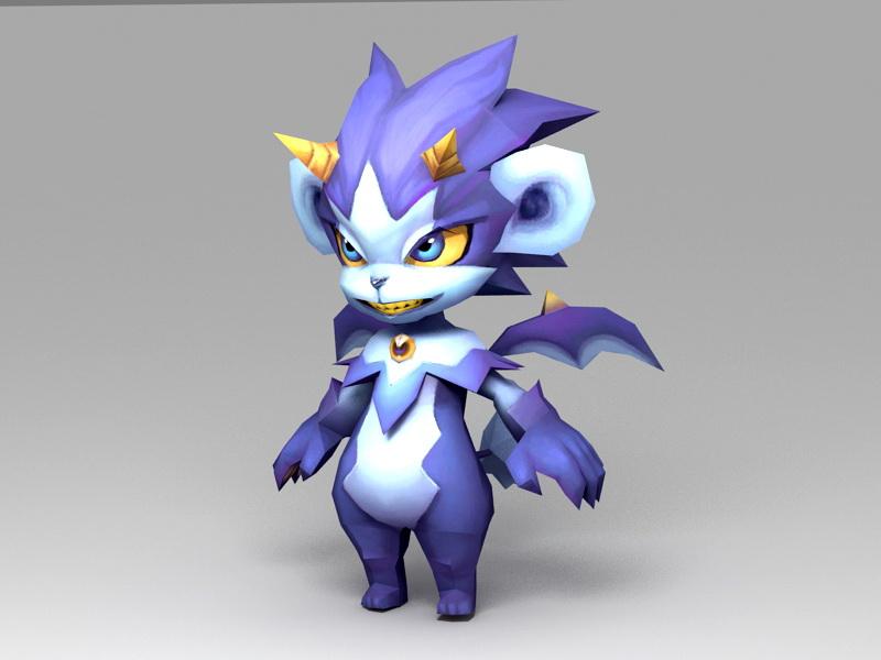 Cute Anime Dragon 3d rendering